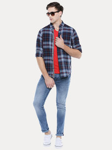 BLUE AND RED CHECKED CASUAL SHIRT