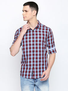 MAROON CHECKED CASUAL SHIRT
