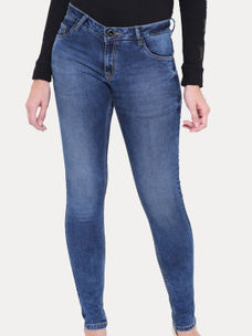 MID BLUE SOLID STRAIGHT JEANS