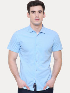 LIGHT BLUE SOLID CASUAL SHIRT
