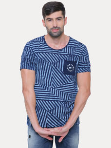 INDIGO STRIPED T-SHIRT