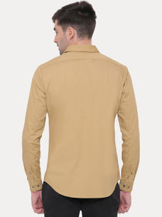 KHAKI SOLID CASUAL SHIRT