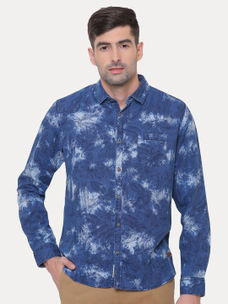 INDIGO PRINTED CASUAL SHIRT