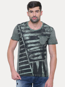 FOREST GREEN PRINTED T-SHIRT