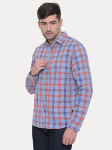 RED AND BLUE CHECKED CASUAL SHIRT