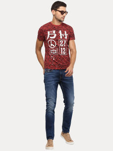MINIRAL RED PRINTED T-SHIRT