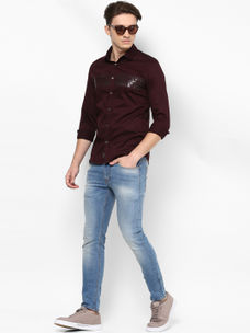 MAROON PRINTED CASUAL SHIRT