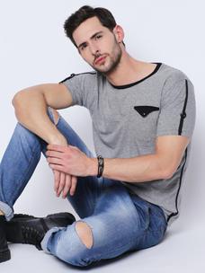 Disrupt Grey Melange Striped Cotton Half Sleeve T-Shirt For Men's