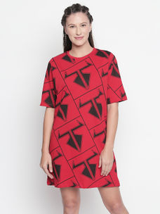 DISRUPT Graphic Print RED DRESS FOR WOMEN'S