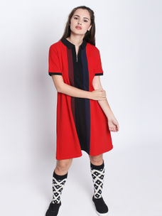 Disrupt Red Cotton Half Sleeve Dress
