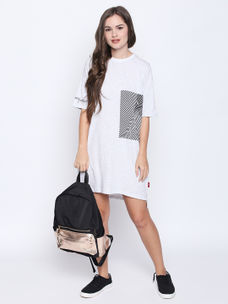 Disrupt White Cotton Half Sleeve Dress