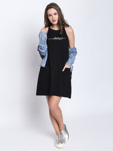 Disrupt Black Cotton Sleeveless Dress