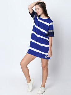 Disrupt Blue Cotton Half Sleeve Dress