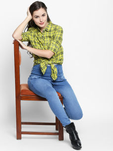 Disrupt Neon&Grey Cotton Fabric Checkered Regular-Fit Shirt For Women's