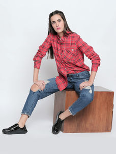Disrupt Coral&Navy Cotton Fabric Checkered Regular-Fit Shirt For Women's