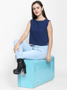 Disrupt Blue Cotton Fabric Solid Boxy-Fit Top For Women's