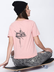 Disrupt Pink  Cotton Half Sleeve T-Shirt