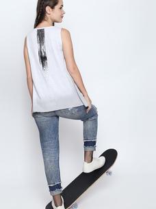 Disrupt White Melange Cotton Viscose Blend Graphic Print Sleeveless T-Shirt For Women's