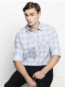 Disrupt White Cotton Fabric Full Sleeve Checkered Shirt For Men's