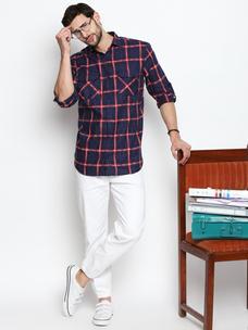 Disrupt Navy Cotton Full Sleeve Shirt
