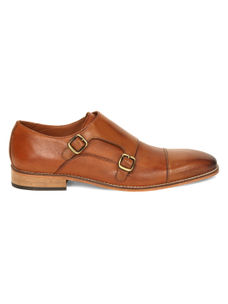 Tan Monk-strap Shoes