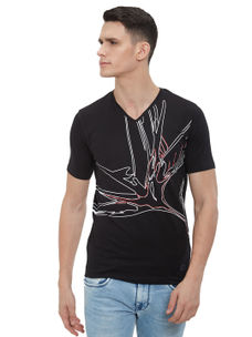 Easies by Killer Printed Black Color Slim Fit T-Shirt