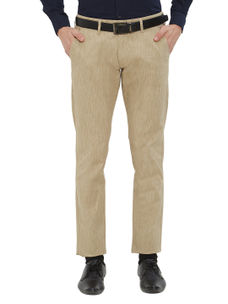Easies by Killer Beige Color Cotton Slim Trousers