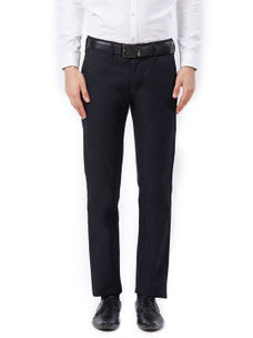 Solid Blue Color Cotton Casual Trousers