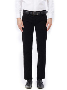 Solid Black Color Cotton Casual Trousers