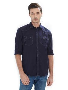 Solid Blue Color Cotton Slim Fit Shirt