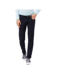 Solid Blue Slim fit Formal Jeans