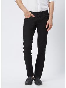 Solid Black Slim fit Formal Jeans