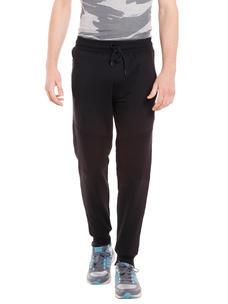 Solid Black Color Regular Fit Track Pant