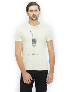 Printed Yellow Color Cotton Slim Fit T-Shirt