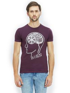 Printed Purple Color Cotton Slim Fit T-Shirt
