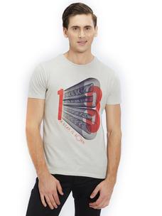 Printed Beige Color Cotton Slim Fit T-Shirt