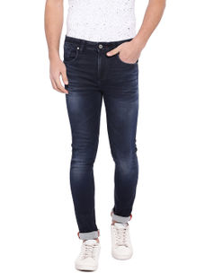 Solid Blue Color Cotton Slank Fit Jeans