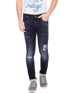 Solid Blue Color Cotton Dunn Fit Jeans