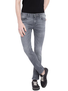 Solid Grey Color Cotton Slank Fit Jeans