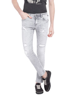 Solid Grey Color Cotton Dunn Fit Jeans