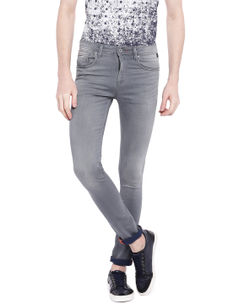 Solid Grey Color Cotton Straight Fit Jeans
