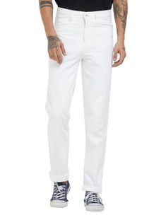 Solid White Color Comfort Fit Jeans