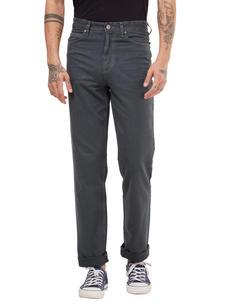 Solid Grey Color Comfort Fit Jeans