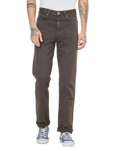 Solid Brown Color Comfort Fit Jeans
