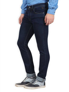 Solid Dark Blue Color Slim Fit Jeans