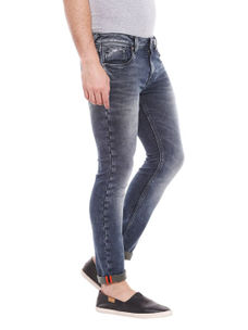 Solid Grey Color Slim Fit Jeans