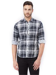 Checkered Black Color Slim Fit Shirts