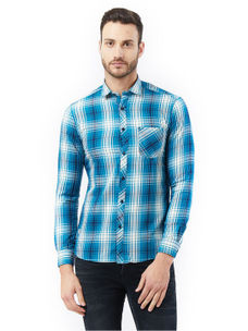 Checkered Blue Color Slim Fit Shirts