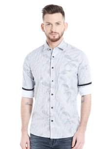 Printed Grey Color Slim Fit Shirts