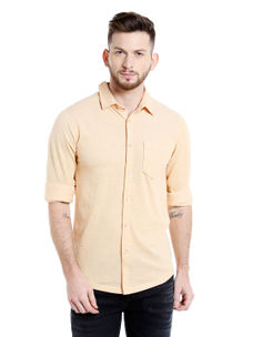 Solid Orange Color Slim Fit Shirts